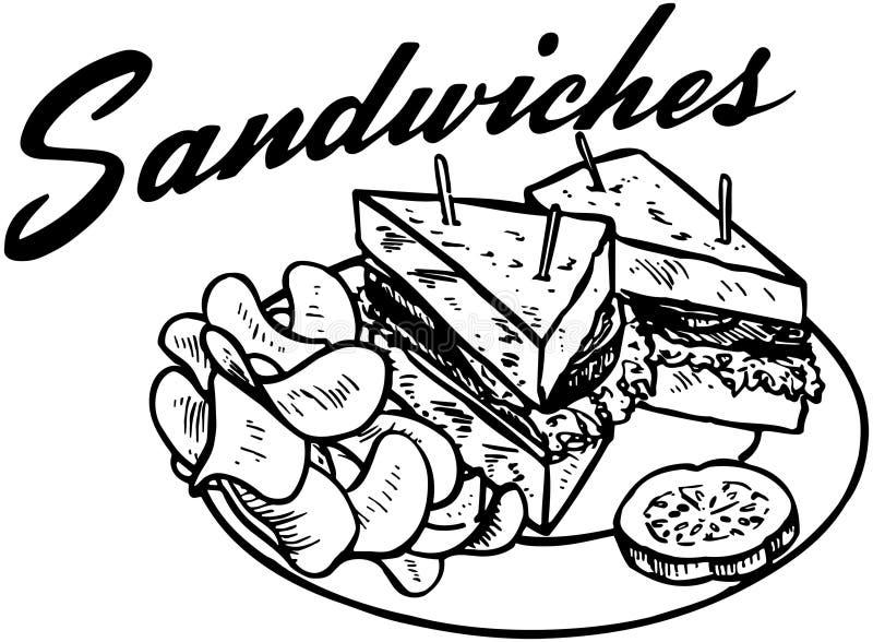 Sanduíches 2 ilustração royalty free