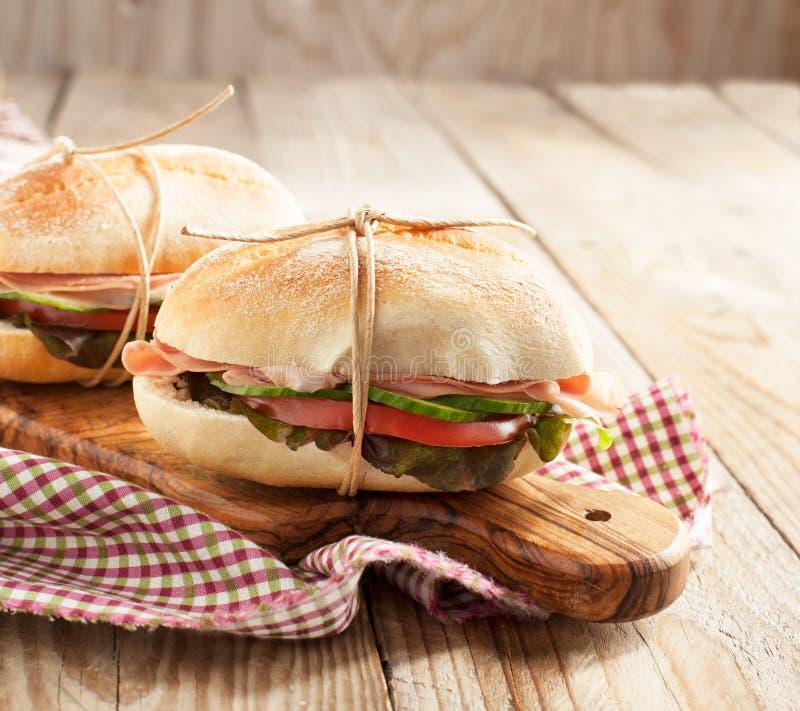 Sanduíches com mortadella e vegetais foto de stock royalty free