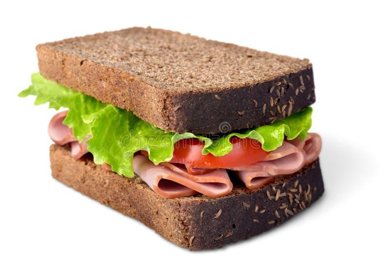 Sanduíches com reunião, vegetais e mostarda sobre fotografia de stock royalty free