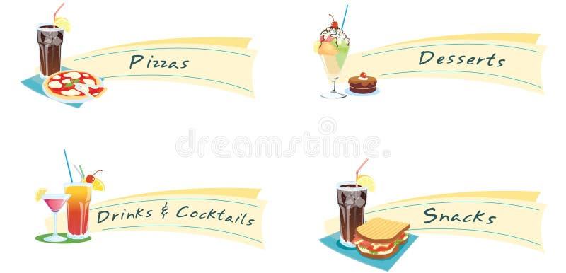 Sanduíches e bebidas ilustração royalty free