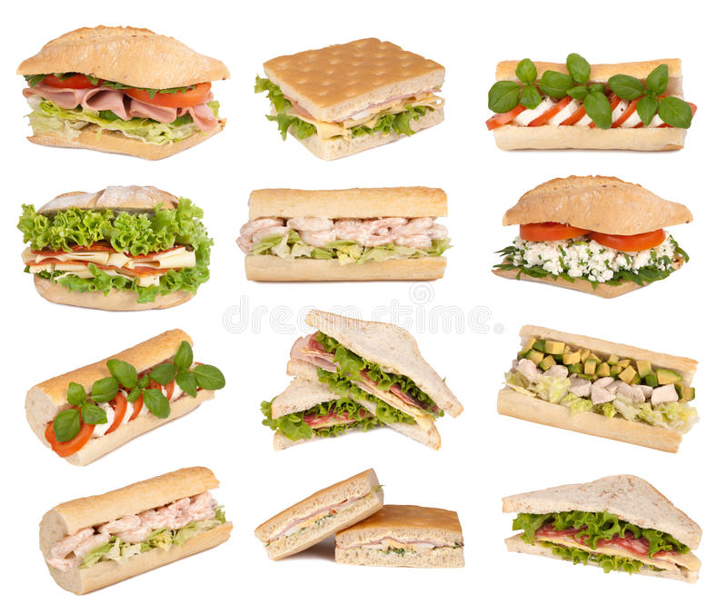 Sanduíches isolados no branco fotos de stock