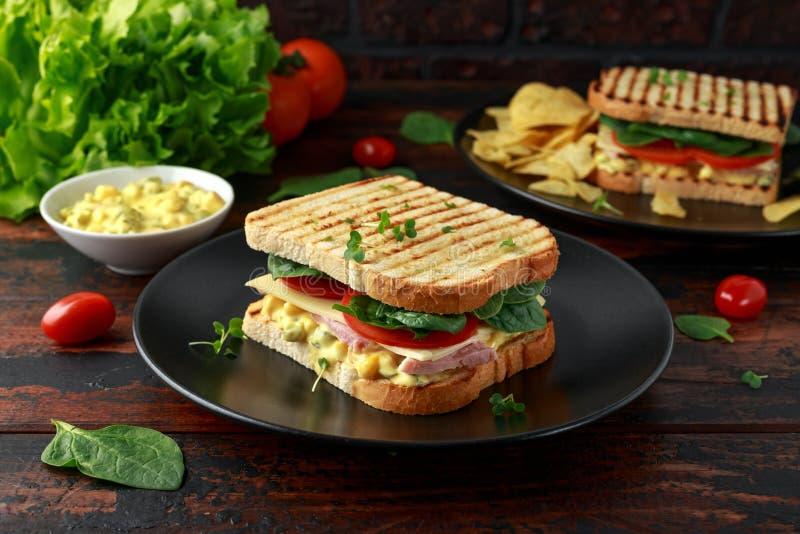Sandu?che com presunto, queijo, tomates, espinafres, milho, maionese, mostarda, pepino, p?o brindado e microplaquetas de batata fotografia de stock