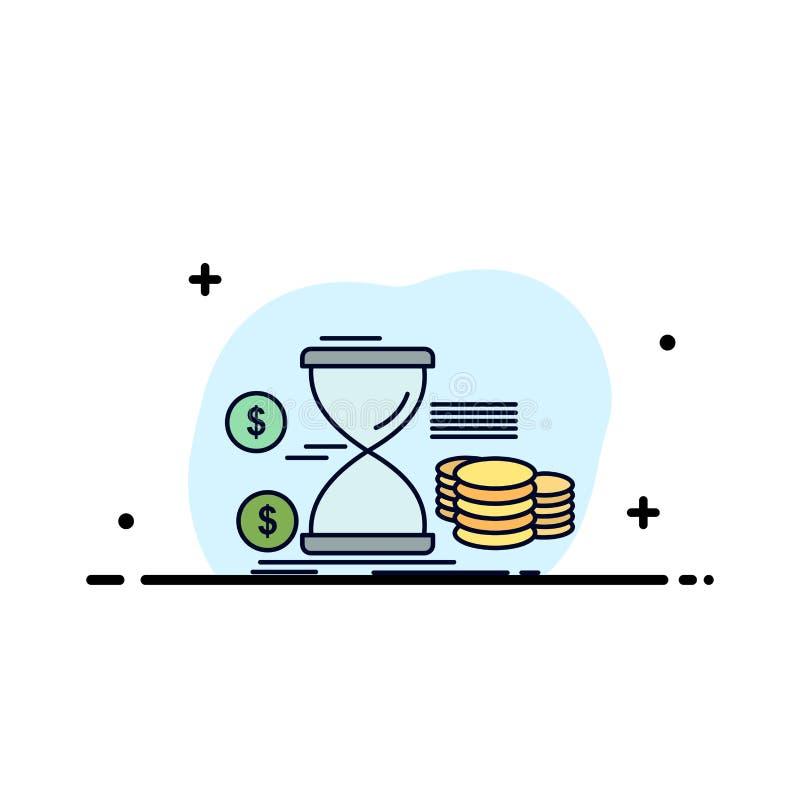 Sanduhr, Management, Geld, Zeit, Münzen flacher Farbikonen-Vektor stock abbildung