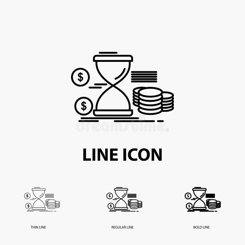 Sanduhr, Management, Geld, Zeit, Münzen Ikone in der dünnen, regelmäßigen und mutigen Linie Art Auch im corel abgehobenen Betrag lizenzfreie abbildung