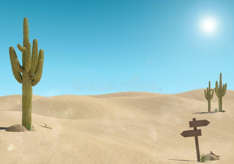 Sandwüstelandschaft mit Kaktus und Holzschild auf Hintergrund des blauen Himmels vektor abbildung