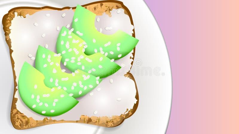 Sandwich à avocat d'un plat illustration libre de droits