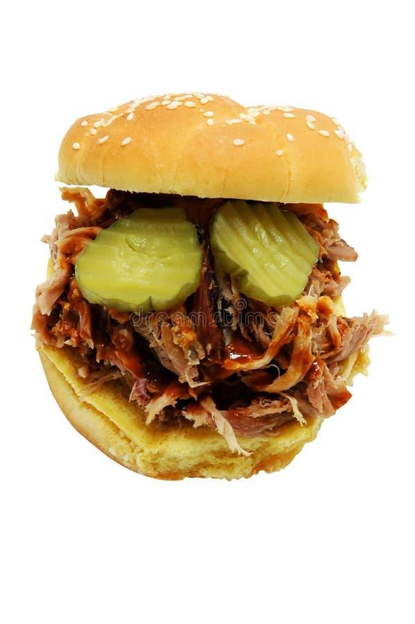 Sandwich à barbecue avec des pickles à l'aneth photos libres de droits