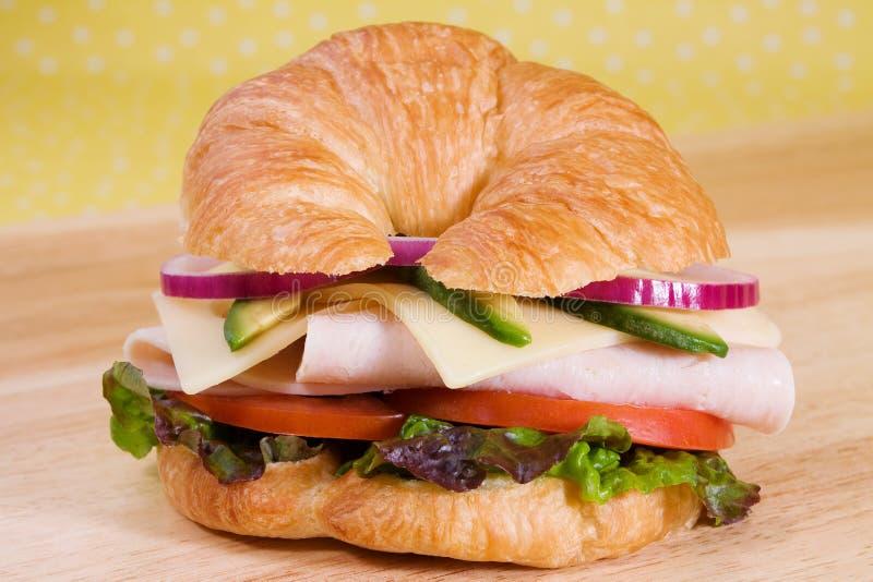Sandwich à croissant de la Turquie photographie stock libre de droits