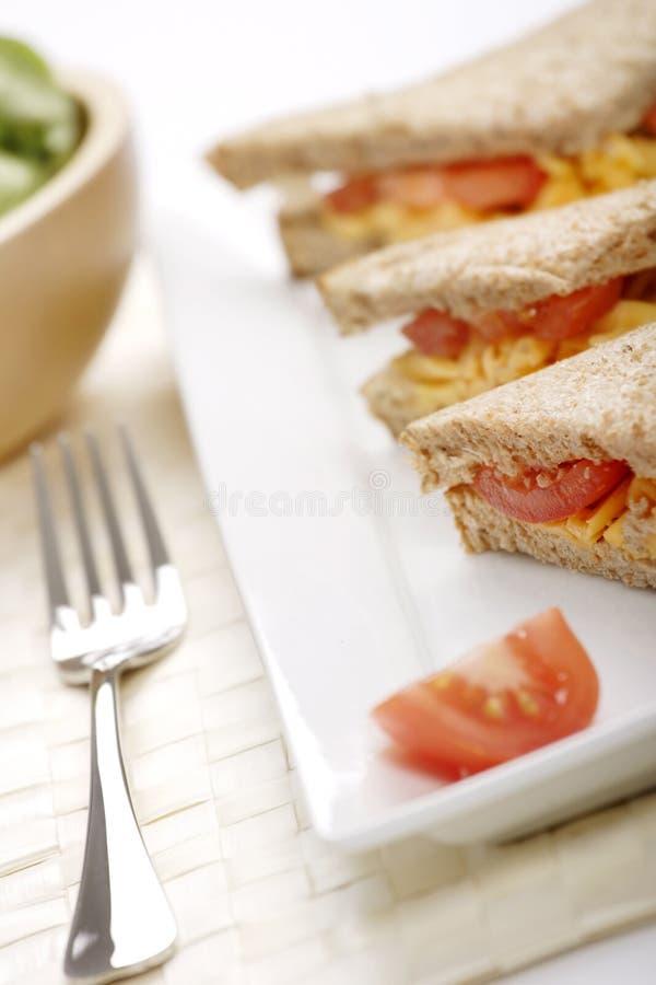 Sandwich à fromage et à tomate photographie stock libre de droits