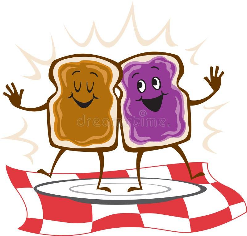 Sandwich à gelée de beurre d'arachide illustration libre de droits