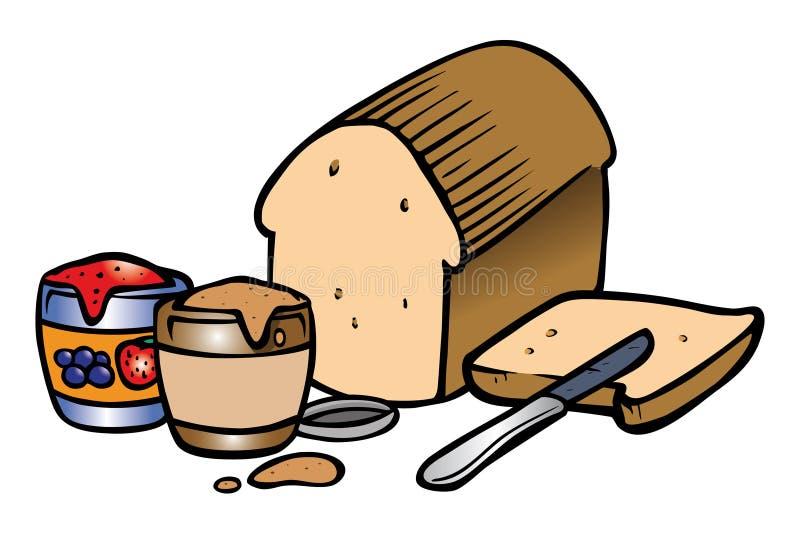 Sandwich à gelée de beurre d'arachide illustration stock