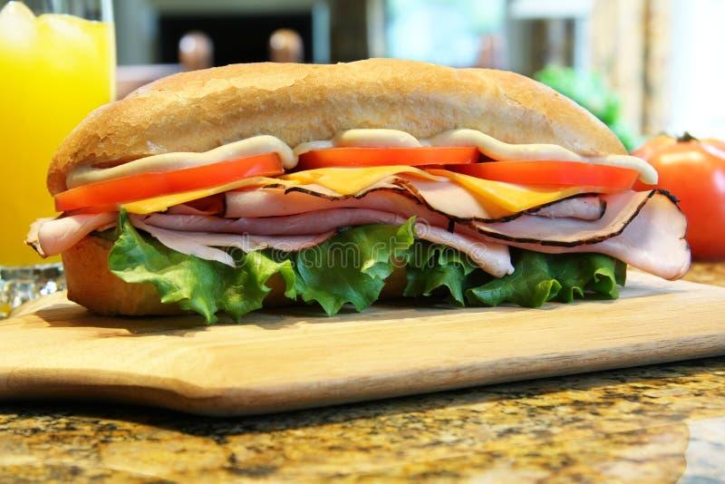 Sandwich à jambon et à fromage photo libre de droits