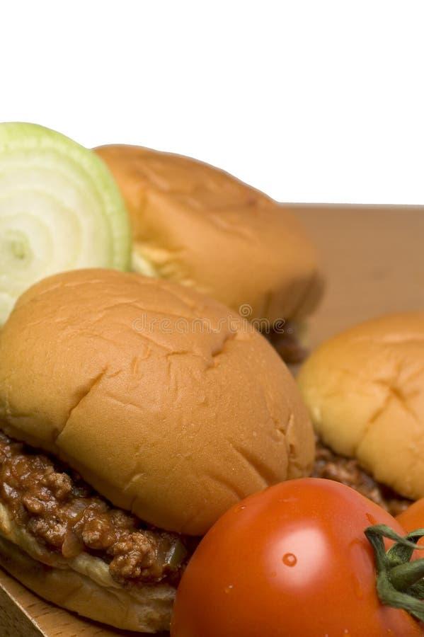 Sandwich à Joe mouillé aux oignons de tomates images libres de droits