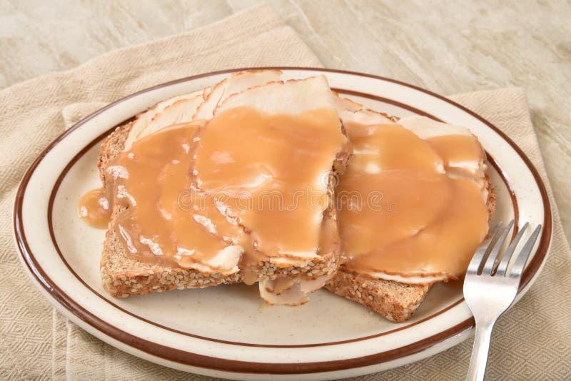 Sandwich à la dinde à face ouverte images stock