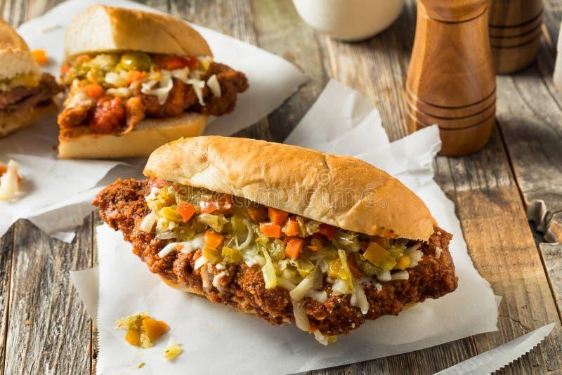 Sandwich à la viande pané fait maison de Chicago photos libres de droits