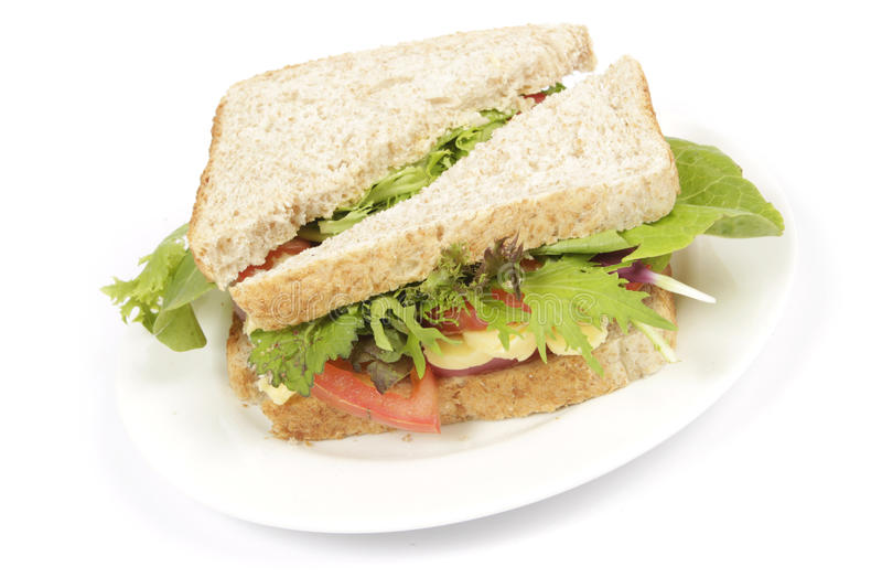 Sandwich à pain de Brown de plaque photo stock