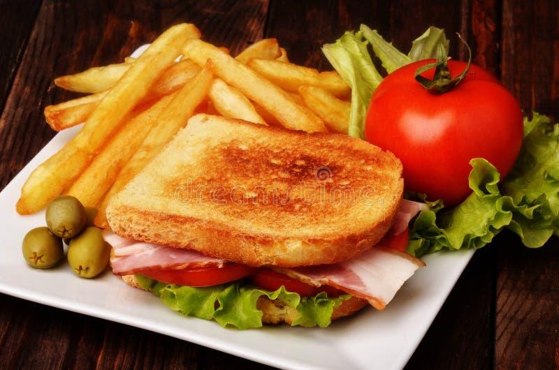 sandwich à pommes frites image stock
