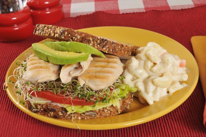 Sandwich à poulet et à avocat photo stock