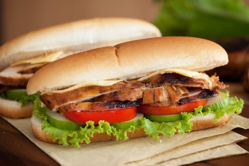 Sandwich à poulet grillé image libre de droits