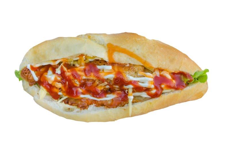 Sandwich à salade de jambon et de fromage de pain français photographie stock libre de droits