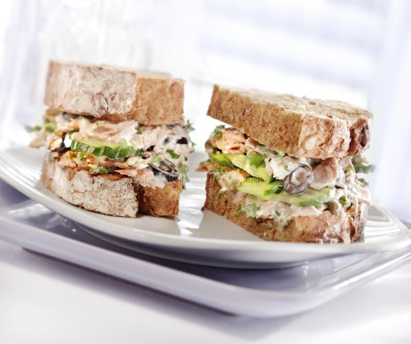 Sandwich à thon avec du pain brun photographie stock libre de droits