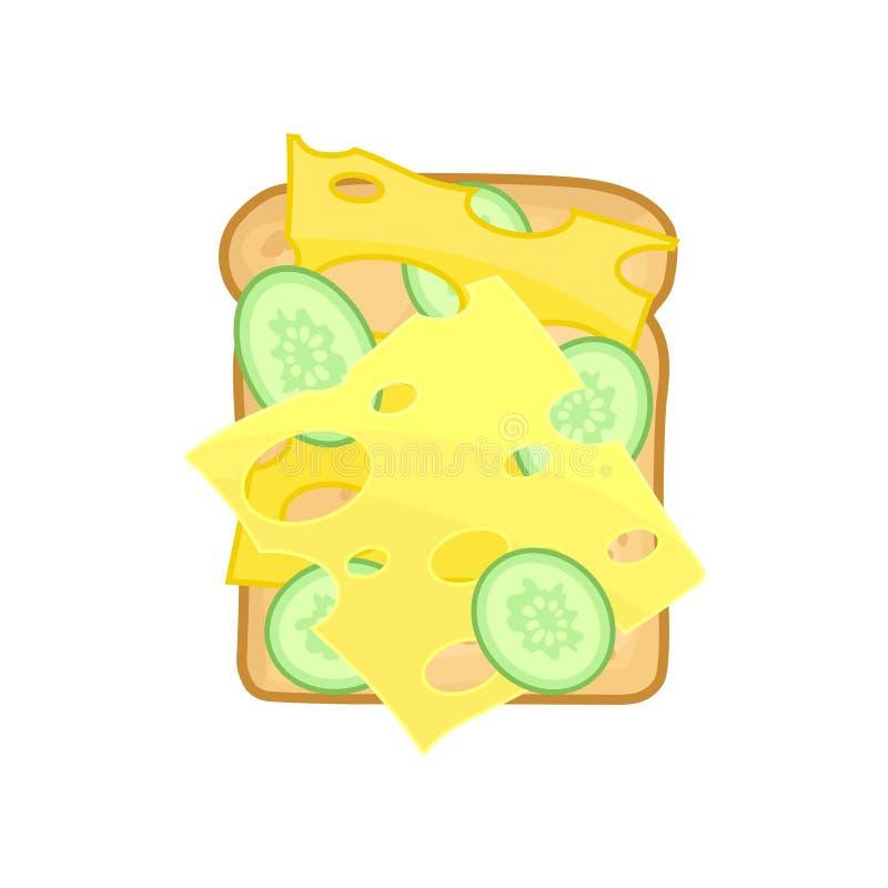 Sandwich appétissant avec des tranches de concombre et de fromage frais Élément plat de vecteur pour le menu illustration de vecteur