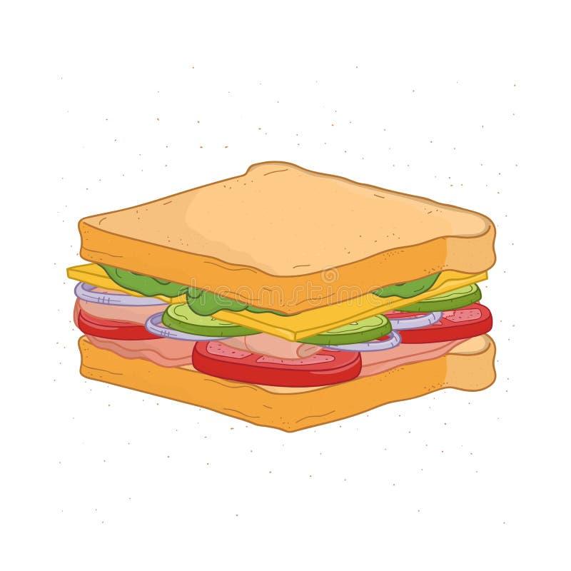 Sandwich appétissant d'isolement sur le fond blanc Dessin de repas de rapide savoureux avec du pain, le jambon ou le lard, fromag illustration libre de droits
