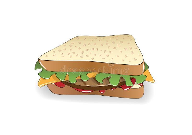 Sandwich appétissant d'isolement sur le fond blanc, illustration horizontale de vecteur illustration de vecteur