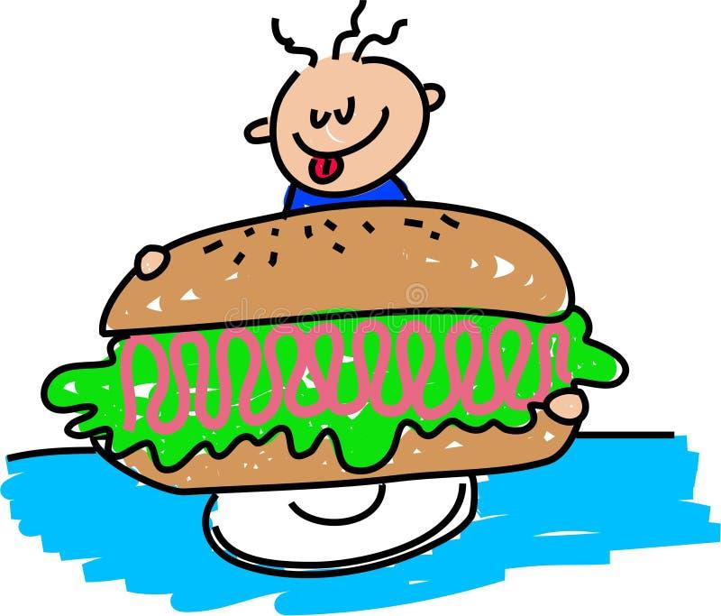 Sandwich au jambon géant illustration de vecteur