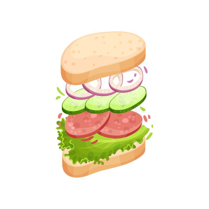 Sandwich auf einem ovalen Stück des Laibs mit Salami Vektorabbildung auf wei?em Hintergrund vektor abbildung