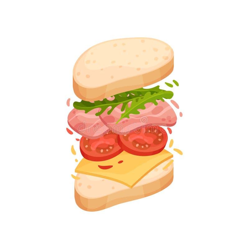 Sandwich auf einem ovalen Stück des Laibs mit Schinken und Käse Vektorabbildung auf wei?em Hintergrund stock abbildung