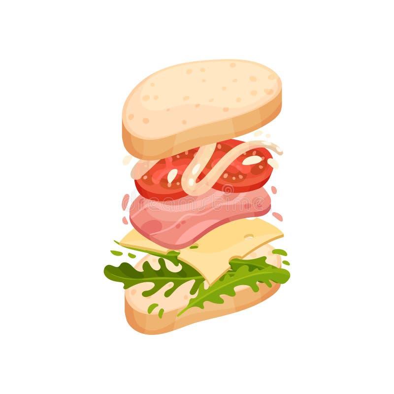 Sandwich auf einem ovalen Stück des Laibs mit Schinken Vektorabbildung auf wei?em Hintergrund vektor abbildung