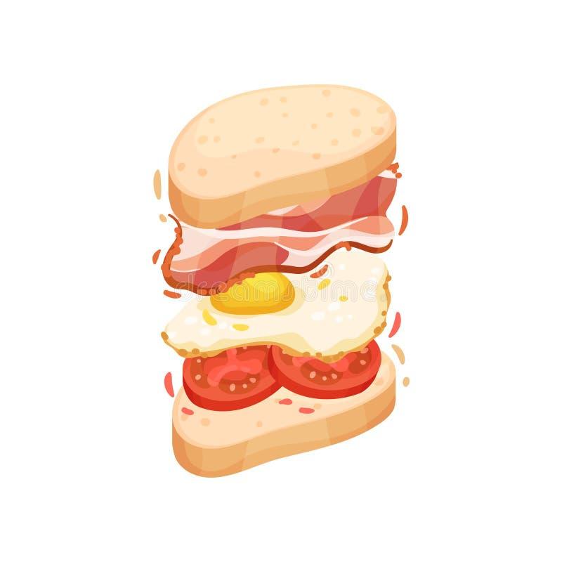 Sandwich auf einem ovalen Stück des Laibs mit Speck Vektorabbildung auf wei?em Hintergrund stock abbildung