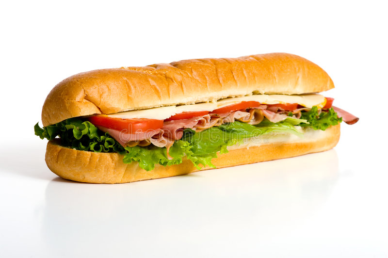 Sandwich auf Weiß lizenzfreie stockfotos