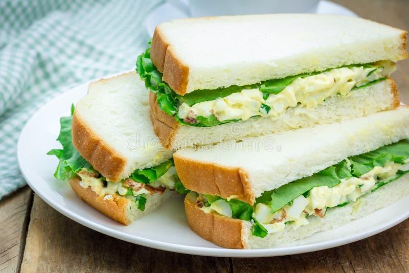 Sandwich avec de la salade d'oeufs, lard, oignon vert, laitue images libres de droits
