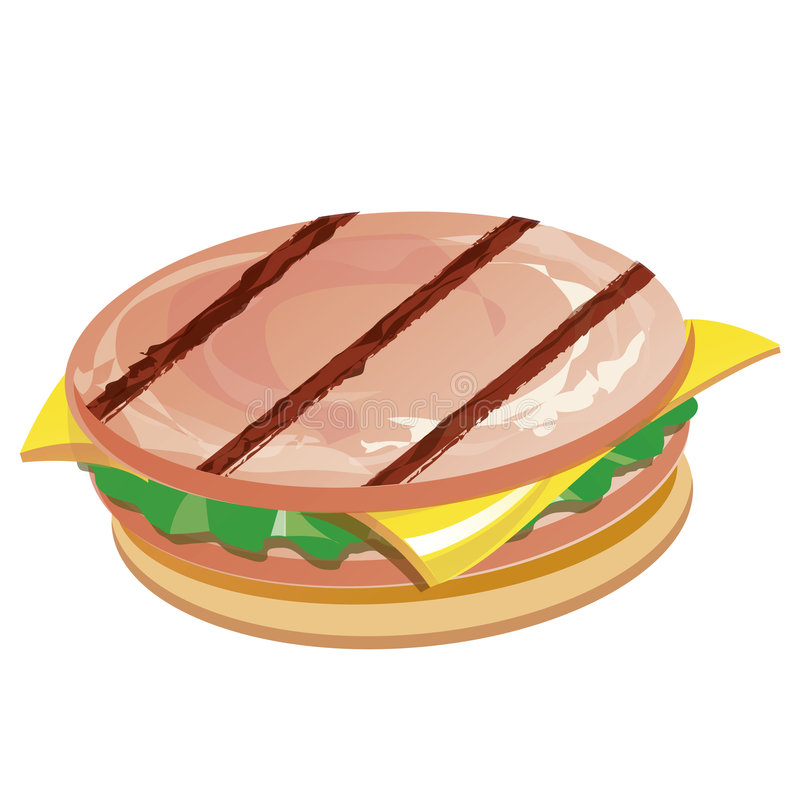 Sandwich avec du fromage et le jambon illustration stock