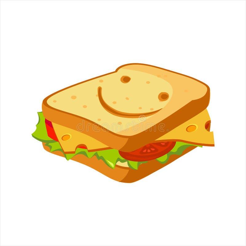 Sandwich avec du fromage, la tomate et la salade, icône colorée de vecteur de commande de menu de café d'aliments de préparation  illustration stock