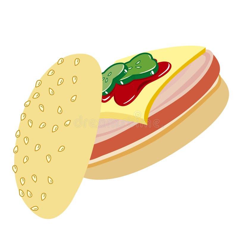 Sandwich avec du jambon, le fromage et le catchup illustration stock