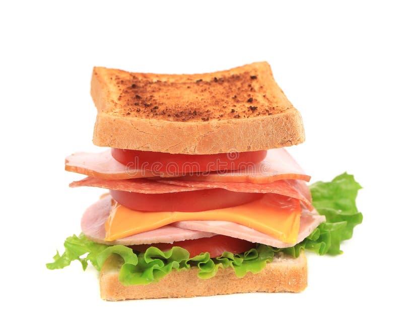 Sandwich avec la tomate et le fromage. images libres de droits