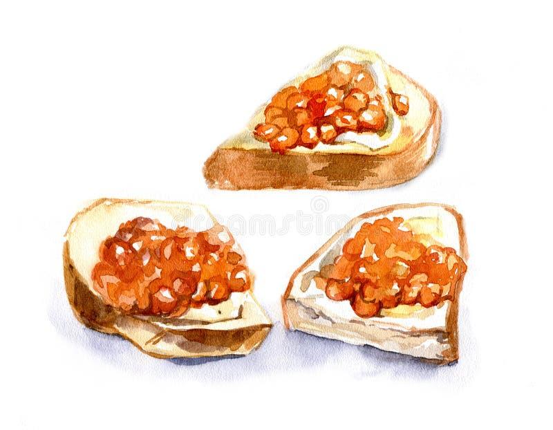Download Sandwich Avec Le Caviar Rouge Sur Un Fond Blanc Watercolor Insu Illustration Stock - Illustration du illustration, manger: 77155790