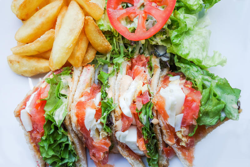 Sandwich avec le lard image libre de droits