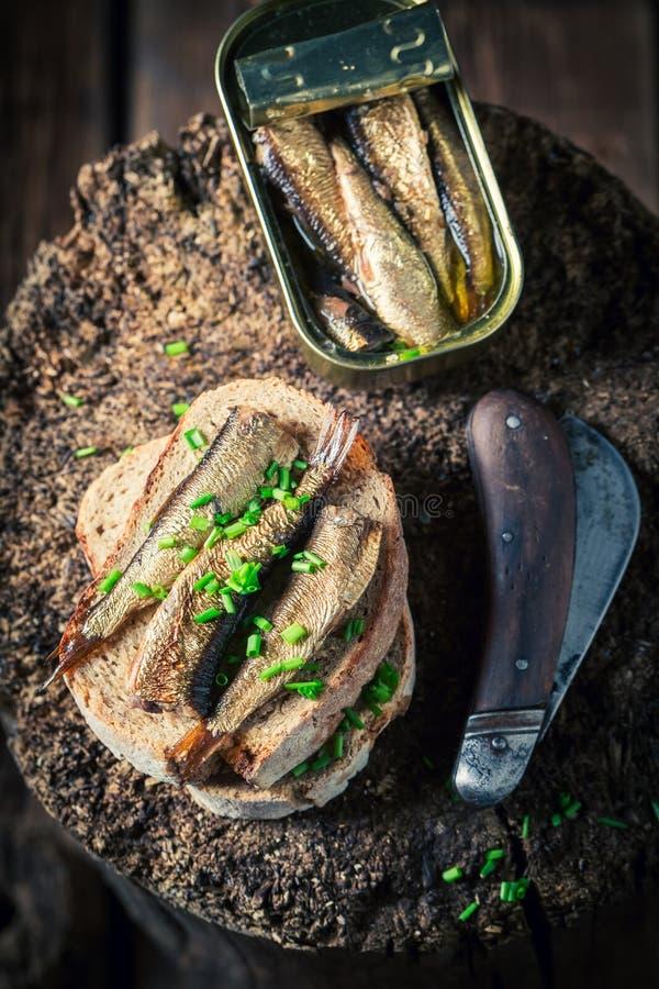 Sandwich avec les sardines, le pain entier et la ciboulette photos stock