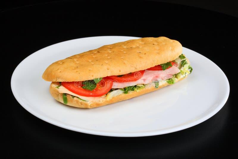 Sandwich avec les tomates et le poulet photos stock