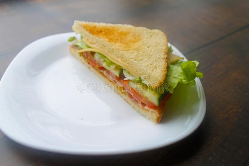 Sandwich with bacon, cheese and fresh vegetables royalty free stock photo