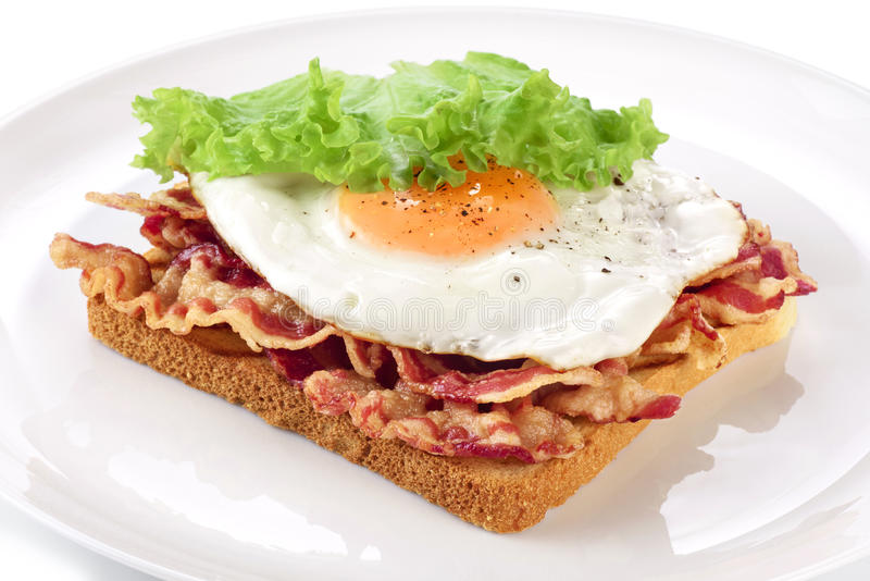 Sandwich with bacon, fried egg and lettuce on a plate. stock photography