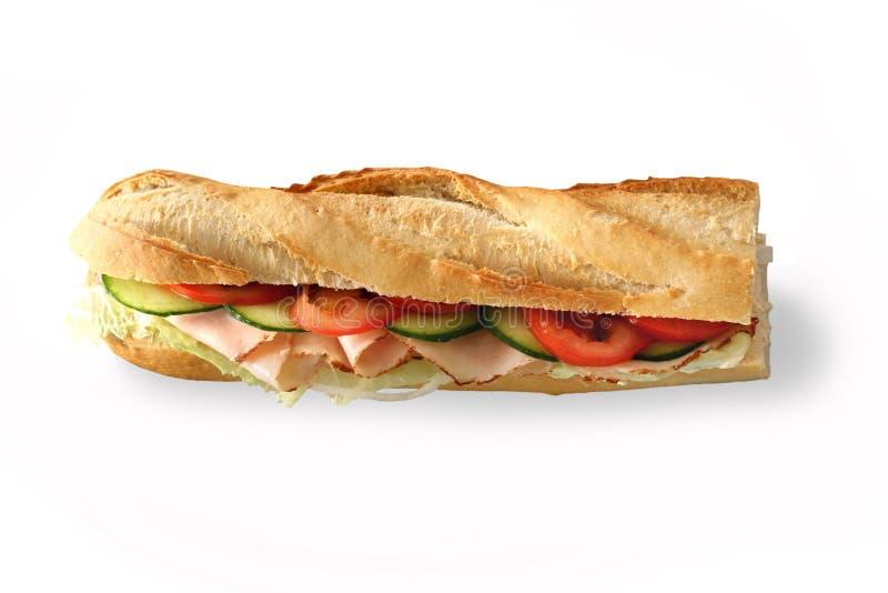 Sandwich baguette. Baguette against a white background stock photos