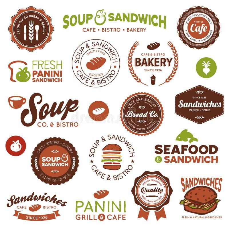 Sandwich bistro labels royalty free illustration