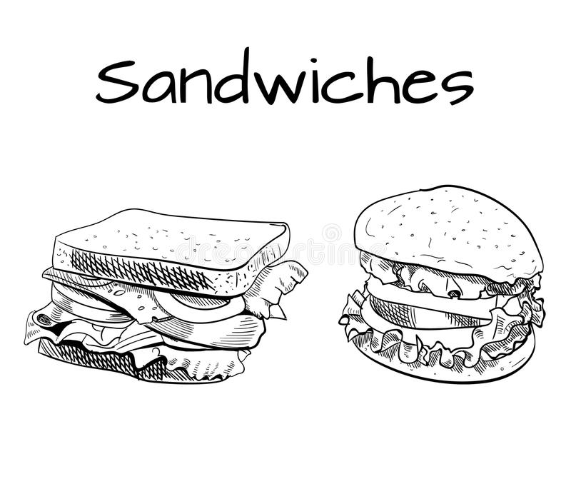 Sandwich and burger outline drawing. VECTOR sketch. Black lines royalty free illustration