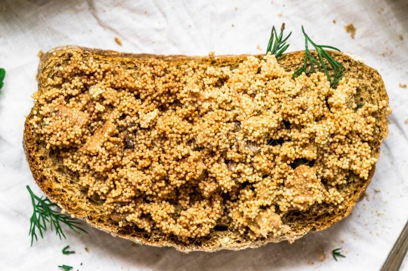 Sandwich with caviar stock image