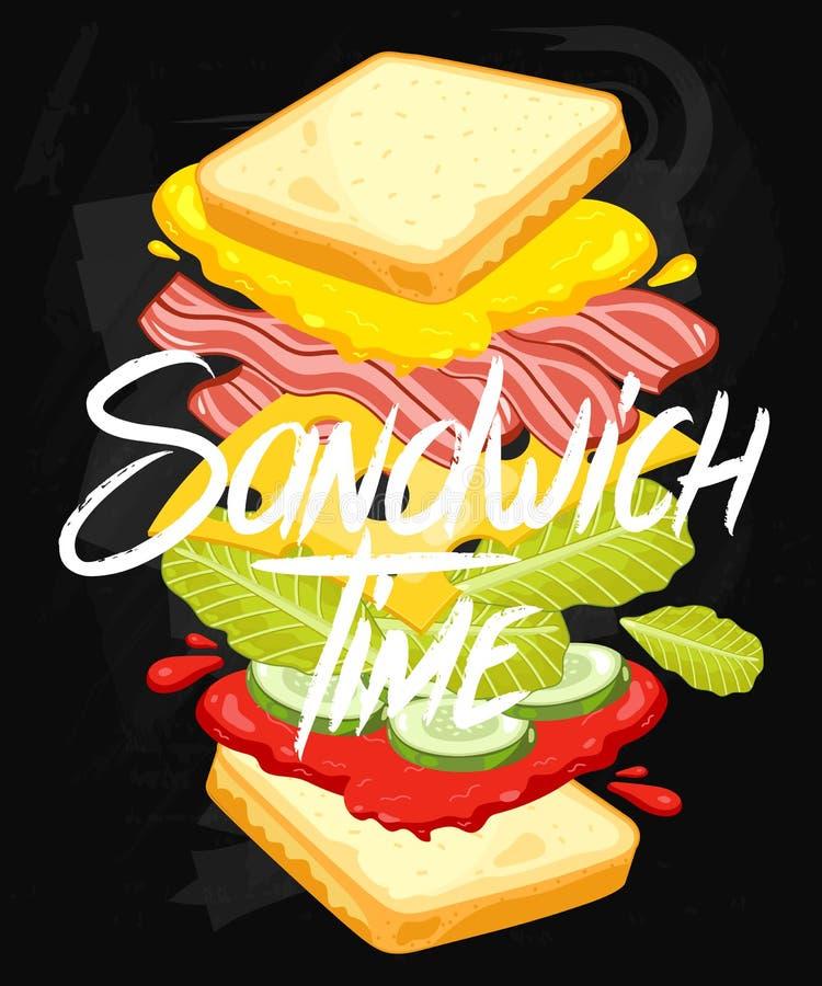 Sandwich on Chalkboard stock illustration
